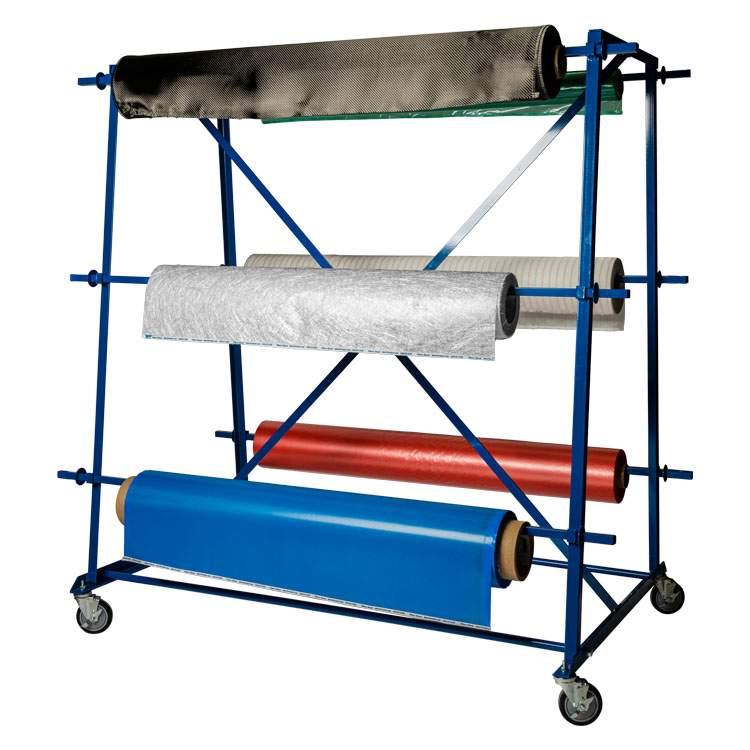 Six Roll Fabric Rack In Stock Fibre Glast